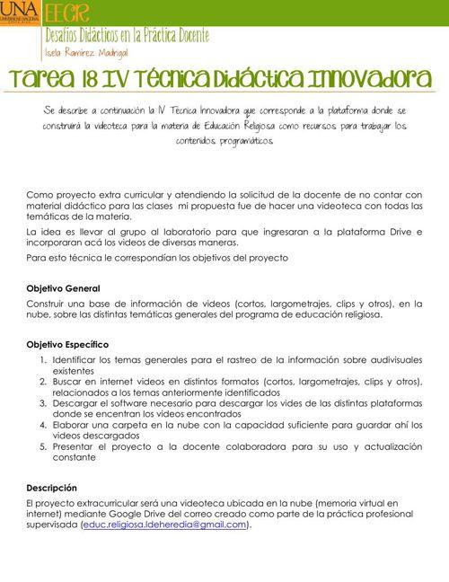 Tarea 18  IV Técnica Didáctica Innovadora
