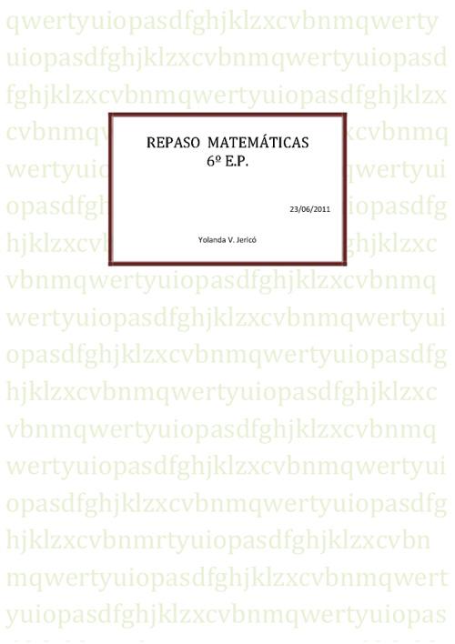 Repaso Matemáticas 6º