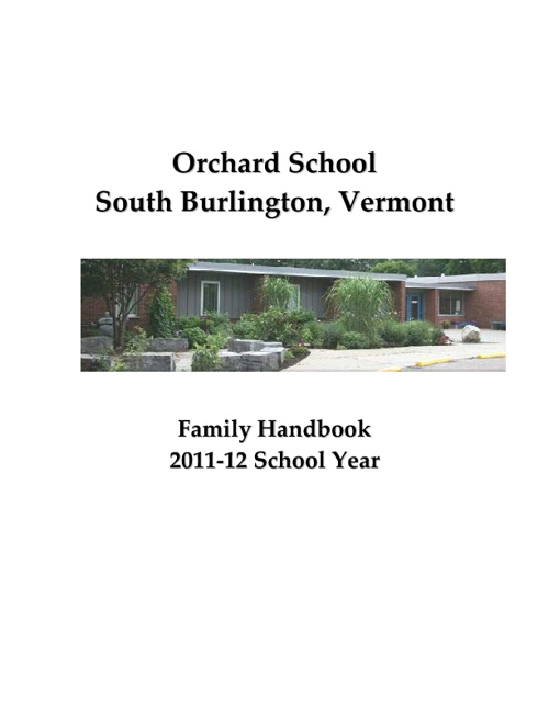 Orchard School Family Handbook 2011-2012