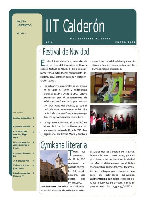 Boletín de Enero del IES Calderón de la Barca