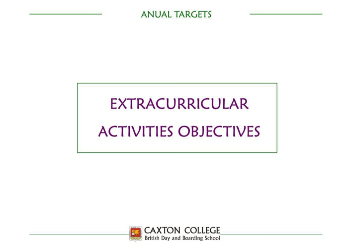 Extracurricular Activities Objectives