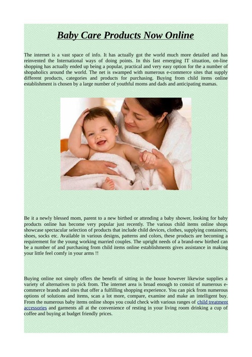 Baby Care Products Now Online