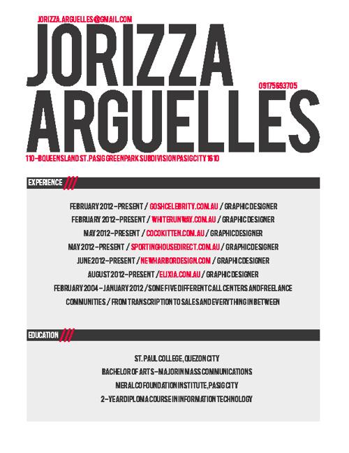 Jorizza Arguelles Resume