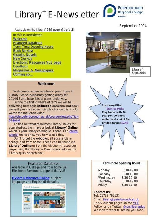 E-Newsletter Sept 2014