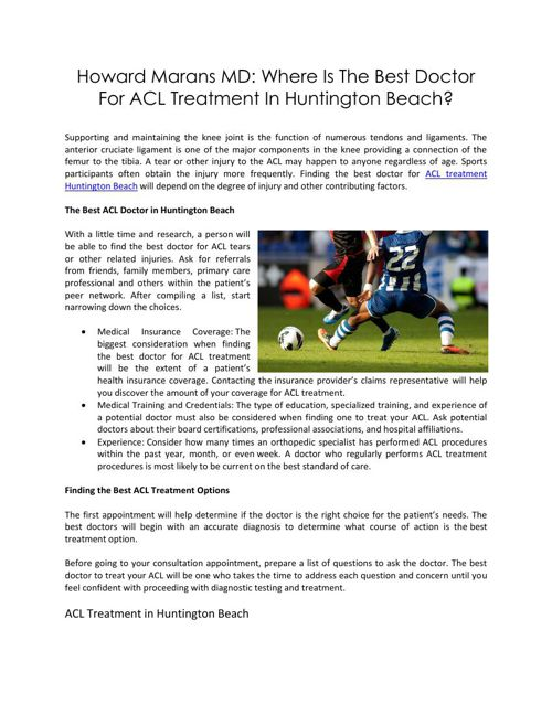 Howard Marans MD: Where Is The Best Doctor For ACL Treatment In