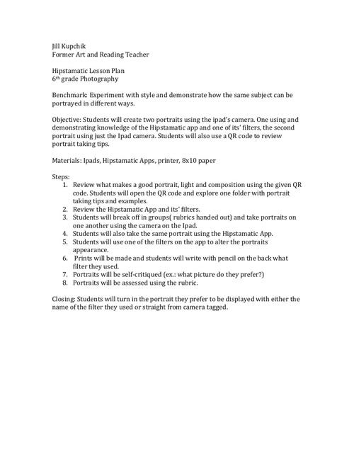 Hipstamatic Lesson Plan, week 4