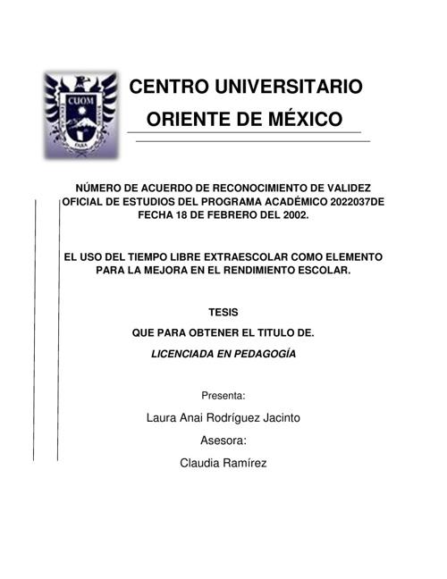 tesis CENTRO UNIVERSITARIO ORIENTE DE MÉXICO