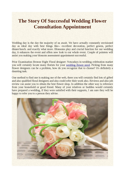 The Story Of Successful Wedding Flower Consultation Appointment