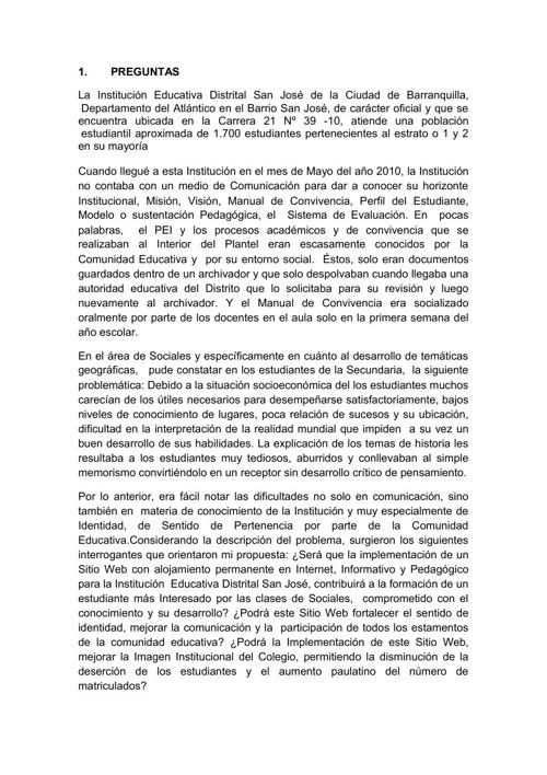 HISTORIA DEL SITIO WEB Y DEL PROYECTO AVA IED SAN JOSÉ
