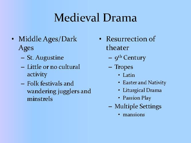 History of Drama Medieval Drama through Spanish Renaissance Dram