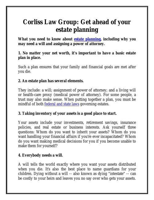 Corliss Law Group: Get ahead of your estate planning