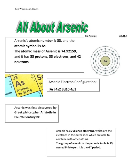 Arsenic Element Project
