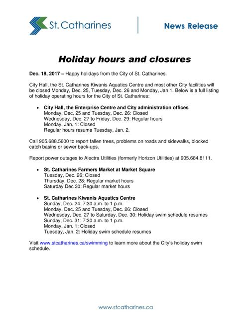 S_CAOCommunicationsNews Releases2017DecemberHoliday hours