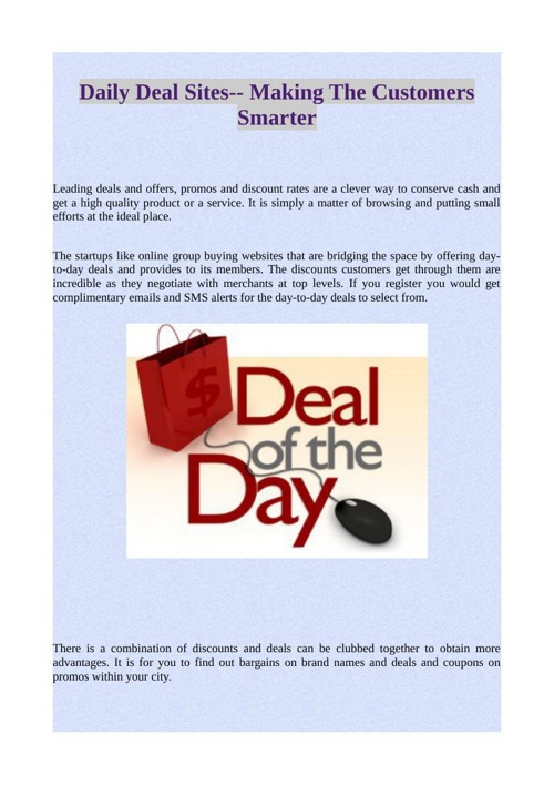Daily Deal Sites-- Making The Customers Smarter