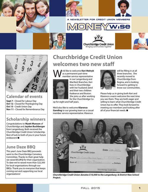 Churchbridge Credit Union Moneywise Fall 2015