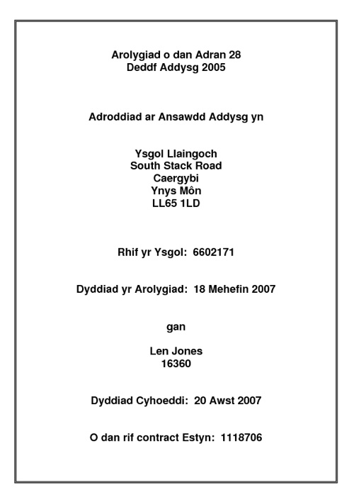 Adroddiad Arolwg