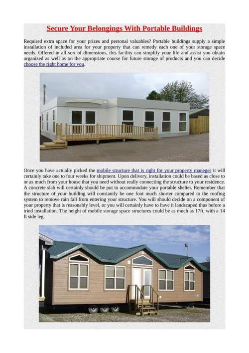 Secure Your Belongings With Portable Buildings