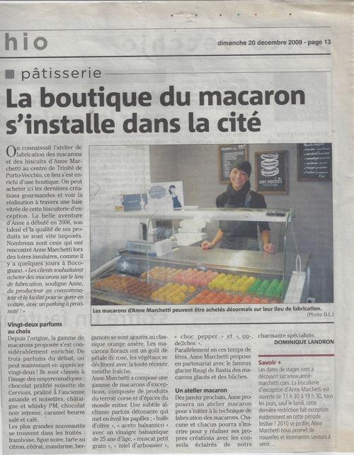 Corse Matin 20 décembre 2009 - La boutique du macaron s'installe