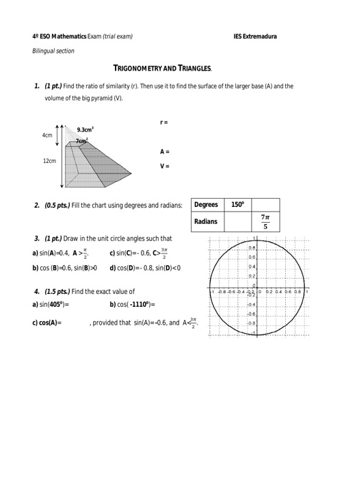 Trigonometry and Triangles trial exam Worked Out Solutions