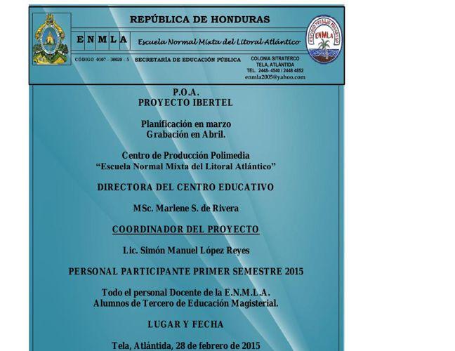 POA Proyecto Ibertel Tela ENMLA (planificacion en marzo - Grabac