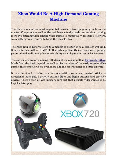 Xbox Would Be A High Demand Gaming Machine