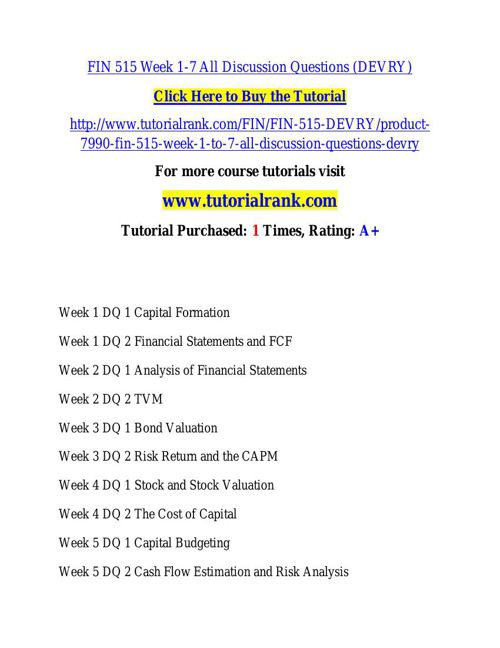 FIN 515 learning consultant / tutorialrank.com