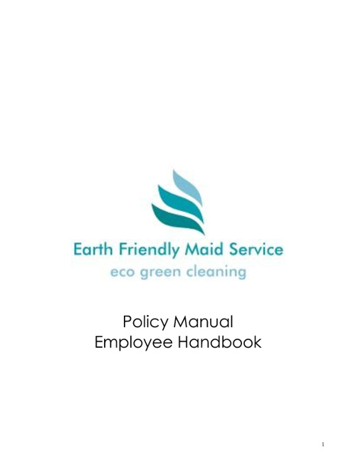 Earth Friendly Maid Service Employee Manual