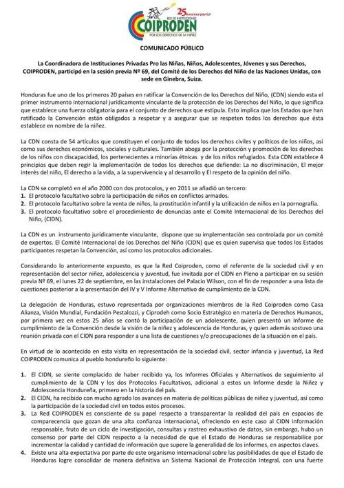 Comunicado Público sobre la visita de COIPRODEN al Comité de los