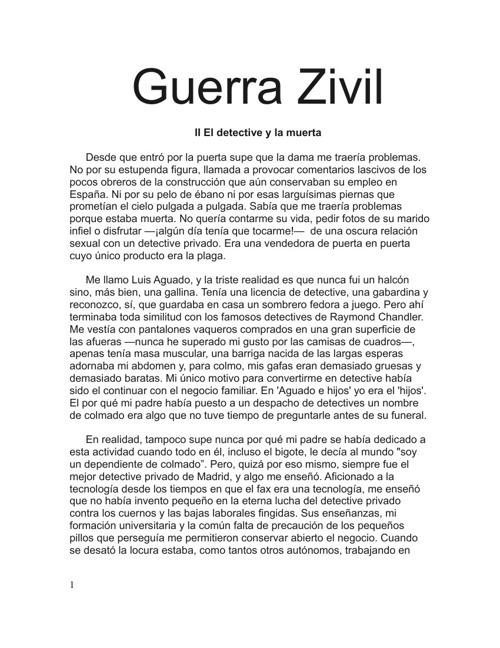 Guerra Zivil - II El detective y la muerta