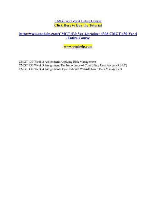 CMGT 430 Ver 4 Entire Course