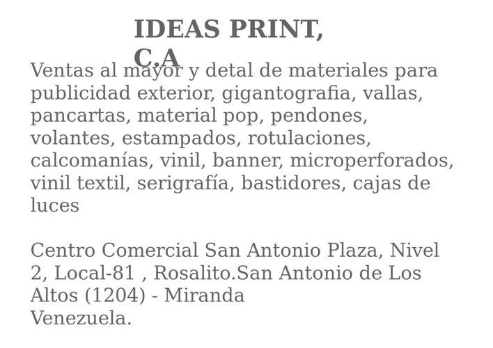 IDEAS PRINT, C.A