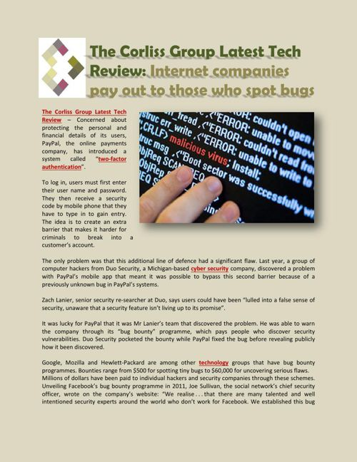 The Corliss Group Latest Tech Review, Internet companies pay out