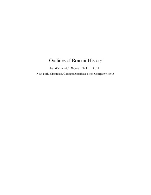 Morey's Outline of Roman History