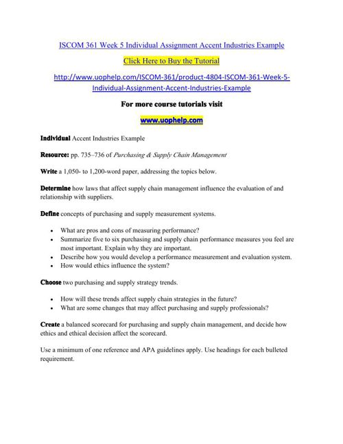 ISCOM 361 Week 5 Individual Assignment Accent Industries Example