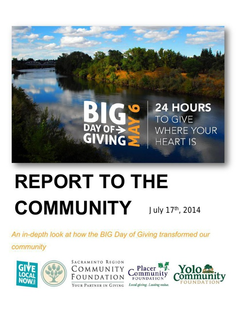 BIG Day of Giving Report to the Community