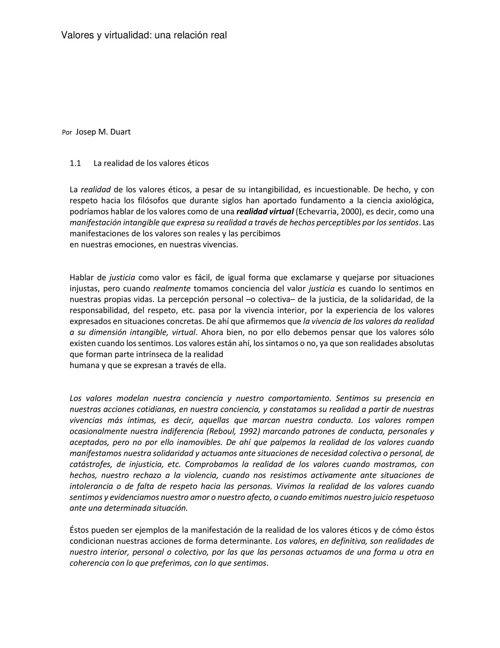 Valores en la virtualidad  Josep Duart