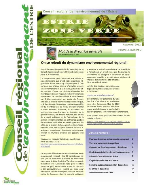 Bulletin Estrie zone verte