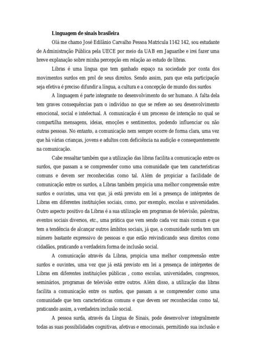 Linguagem de sinais brasileira - José Edilânio Carvalho Pessoa