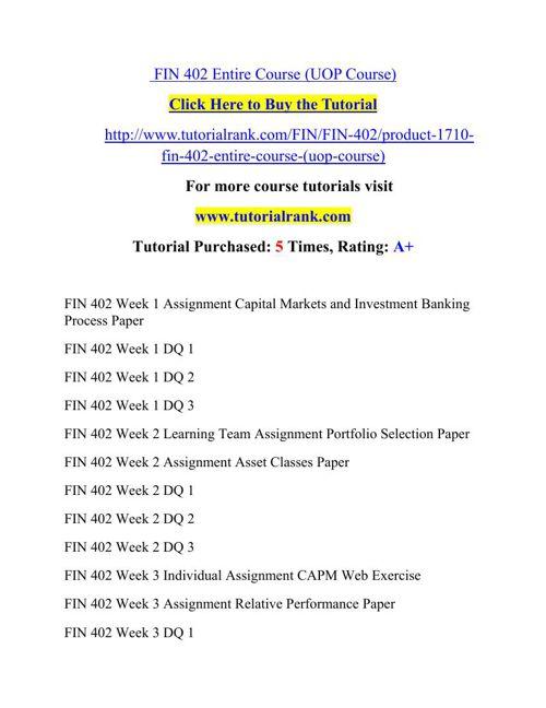 FIN 402 Potential Instructors / tutorialrank.com