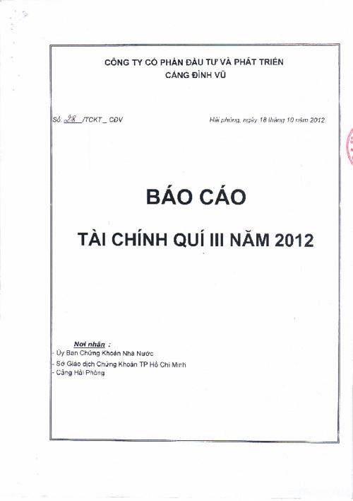 Bao cao Tai chinh 9 thang 2012