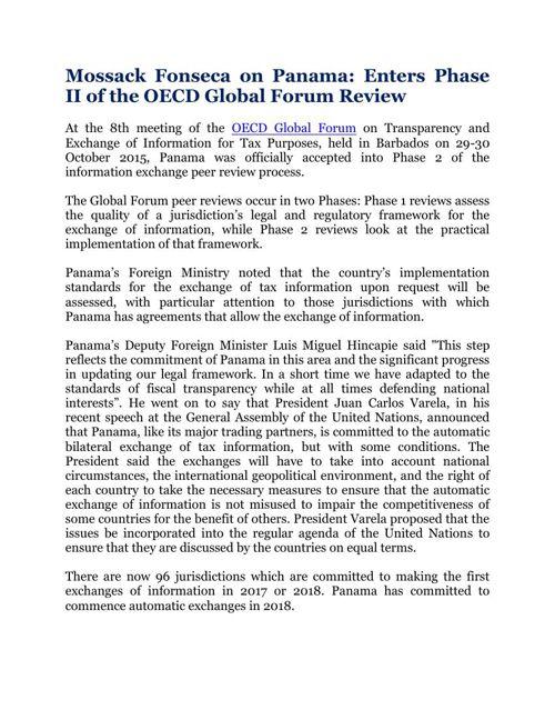 Mossack Fonseca on Panama: Enters Phase II of the OECD Global Fo