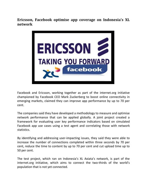 Ericsson Facebook optimise app coverage on Indonesias XL network