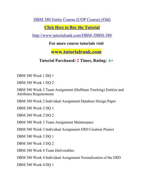 DBM 380 Potential Instructors / tutorialrank.com