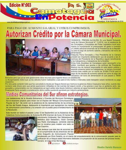 CAMATAGUA EN POTENCIA EDICIÓN 003-2016