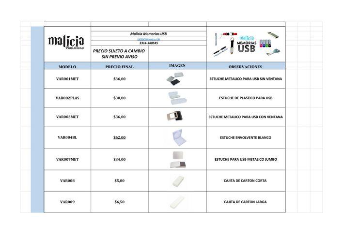 CATÁLOGO MALICIA USB