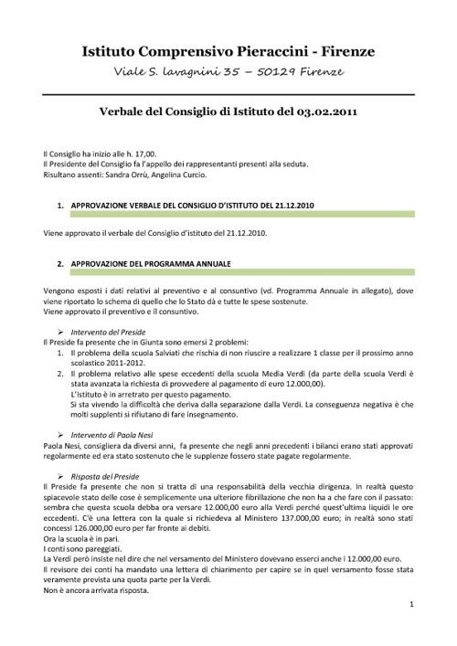 I.C.Pieraccivi - Verbale Consiglio d'Istituto 3 Febbraio 11