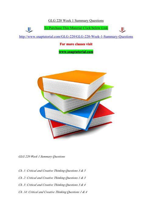 GLG 220 Week 1 Summary Questions