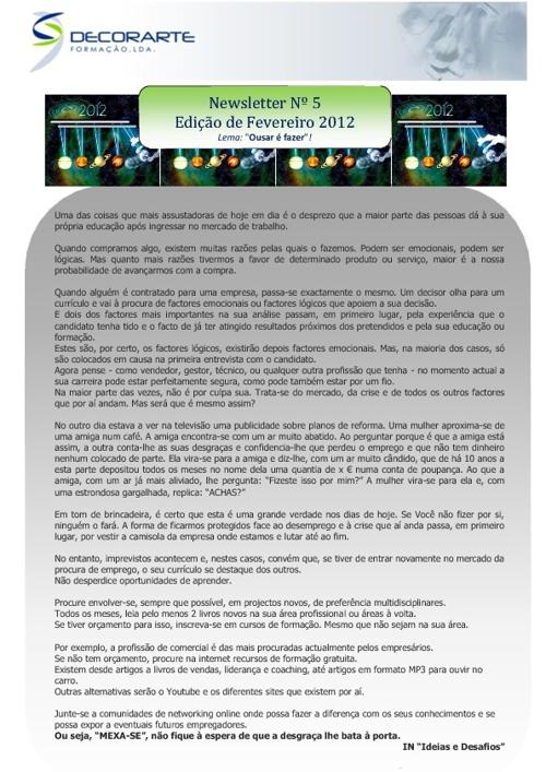 newsletter fevereiro 2012