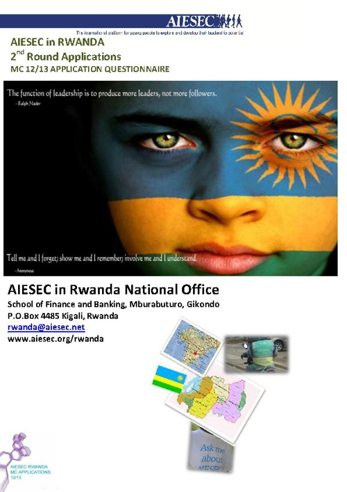 AIESEC Rwanda MC 2012/13 Application Questionnaire