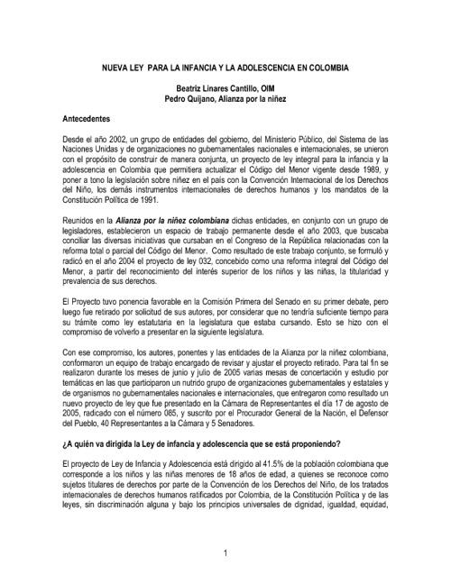 nueva ley para la infancia y la adolescencia en colombia